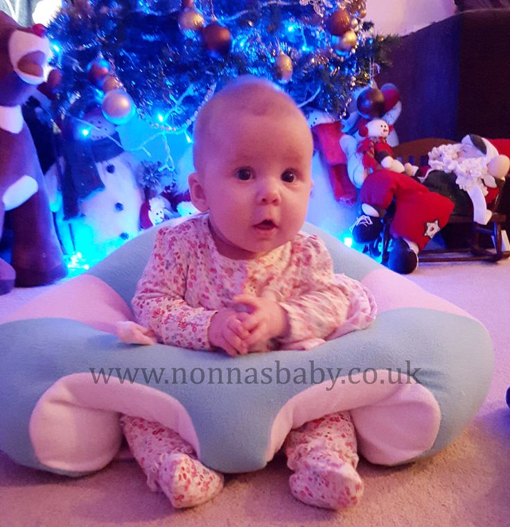 """Little Eva enjoys her comfy Hugaboo Baby Seat. She looks cute and happy, and mummy Jodie said """"Baby Eva 3 months old and loving her chair."""" Nonna is delighted! :-) • Find out more about the Hugaboo Baby Seat: https://nonnasbaby.co.uk/hugaboo-baby-seat/"""