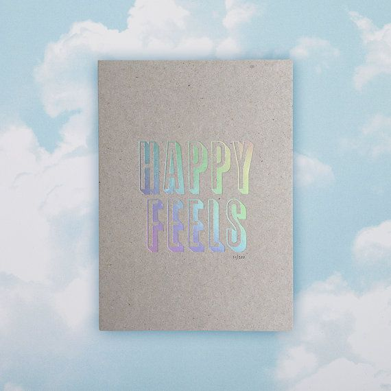 Happy Feels Hologram Print by GhostGoodsCo on Etsy