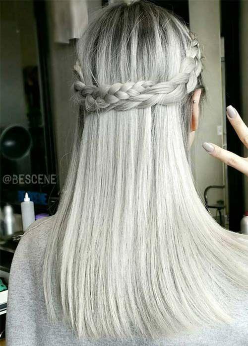 Granny Silver/ Grey Hair Color Ideas: Gray Hair With Crown Braid