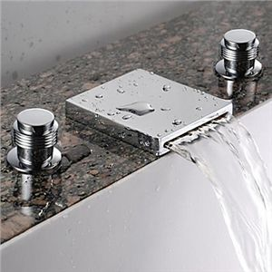 Picture of Waterfall Bathroom Sink Faucet (Widespread) - Chrome Finish