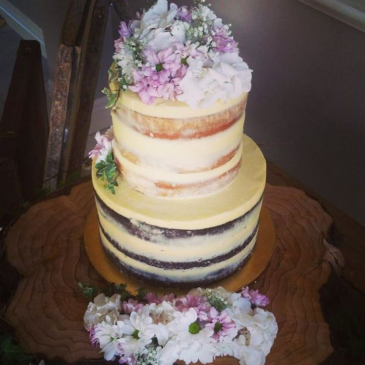 Two Tier Vanilla and Chocolate naked cake with Flowers