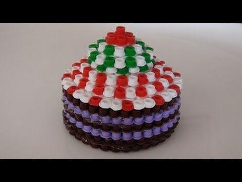 Hama boncuklarla cupcake - 3D DIY Perler cupcake