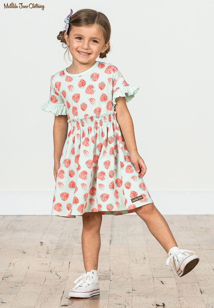 db530fa7f2f Camp MJC  Spring 2018  Let s Jam Dress  This original strawberry print pops  on our updated lap dress.  strawberries  hearts  dress  girlsfashion