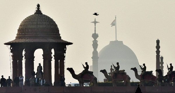 Camel contingents of BSF rehearse during a rehearsal for the upcoming Beating Retreat ceremony at Vijay Chowk in New Delhi.