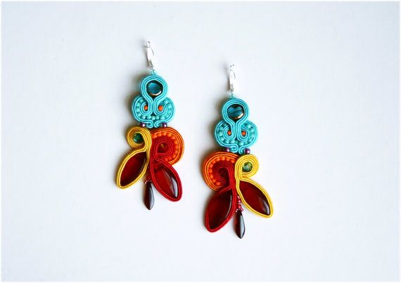 Rainbow colorful soutache earrings, turquoise, red, orange, yellow, leaf, dagger beads, swarovski crystals for summer