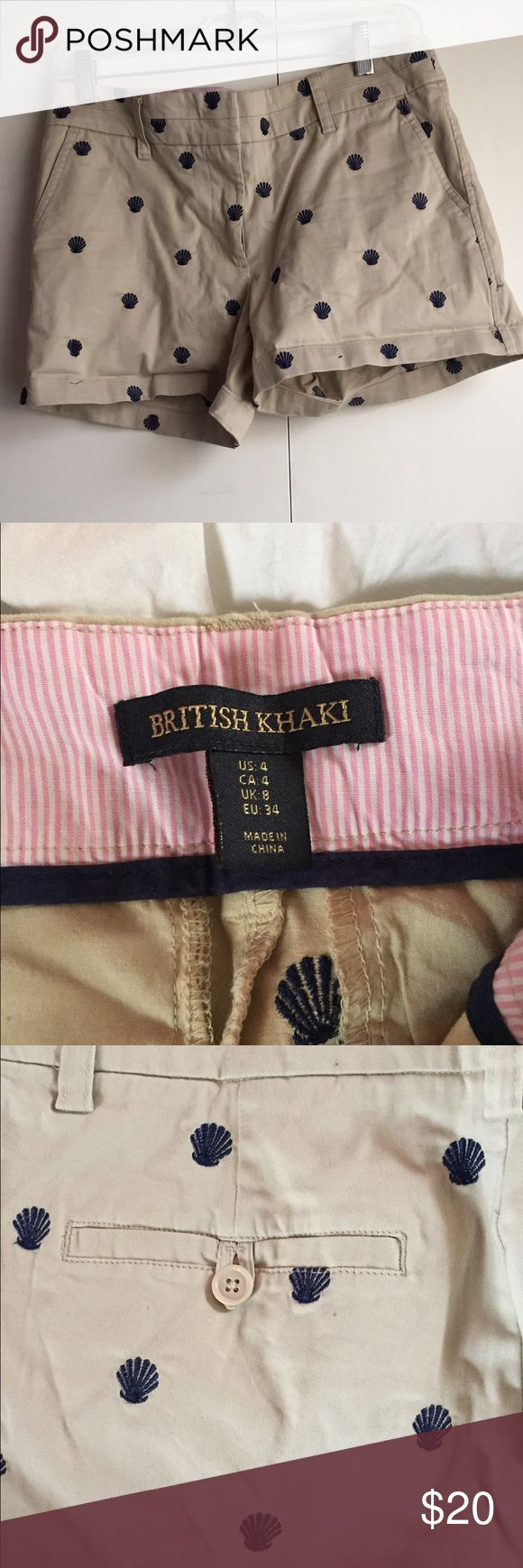 British Khaki shorts with navy embroidery Adorable preppy novelty shorts. Khaki with navy clams embroidered all over. In great condition and have only been worn a few times, but I am still willing to negotiate on the price! British Khaki  Shorts