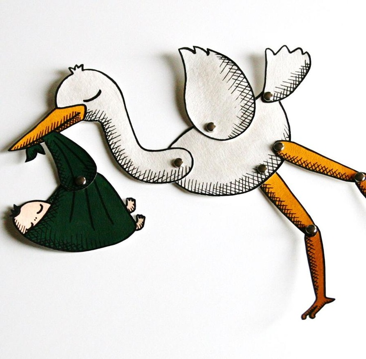 Stork and new baby paper doll