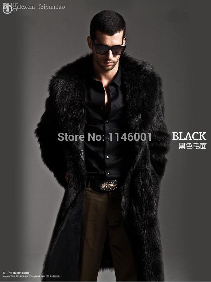 Otoño-Invierno Nueva piel de imitación de la moda de los hombres de piel negro para hombre del abrigo de pieles largo S-XXXL de la chaqueta de cuero especiales jaqueta de couro masculina