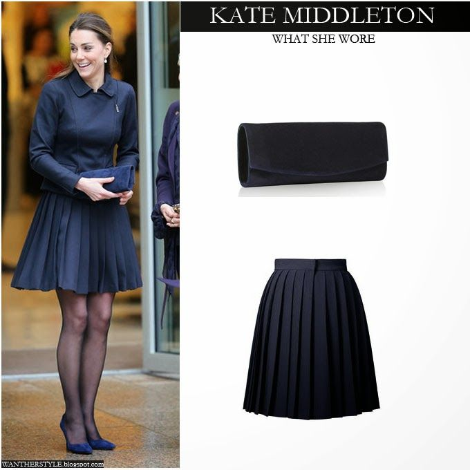 Nov20-13 ~ Kate Middleton in navy blue pleat skirt with blue jacket, blue suede pumps and blue suede clutch