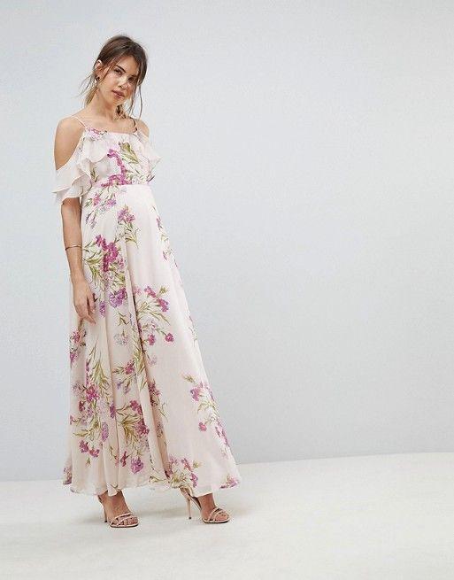 31c05119745b6 ASOS Maternity | ASOS MATERNITY Floral Print Maxi Dress with Ruffle Cold  Shoulder