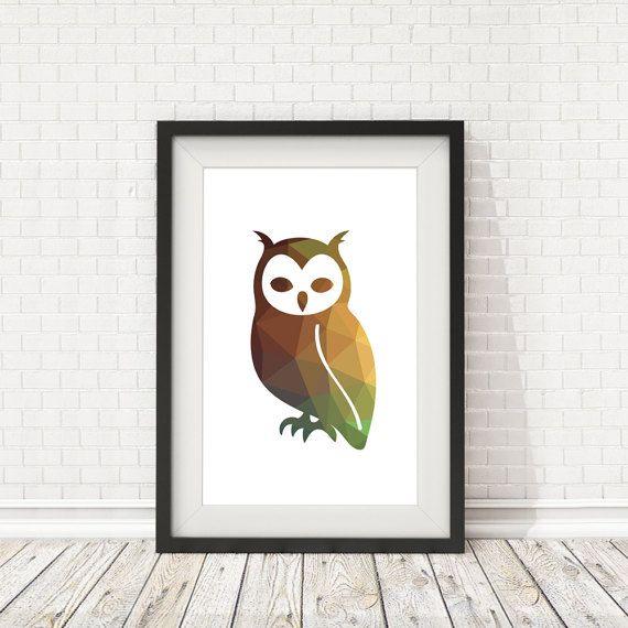 Owl poster Owl print Owl polygon Bird decor by BatLabPrintables