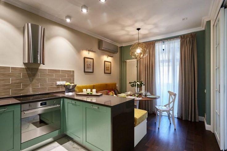 53m2-es lakás, kevés ablak - példa külön hálószoba és kényelmes konyha, étkező kialakítására
