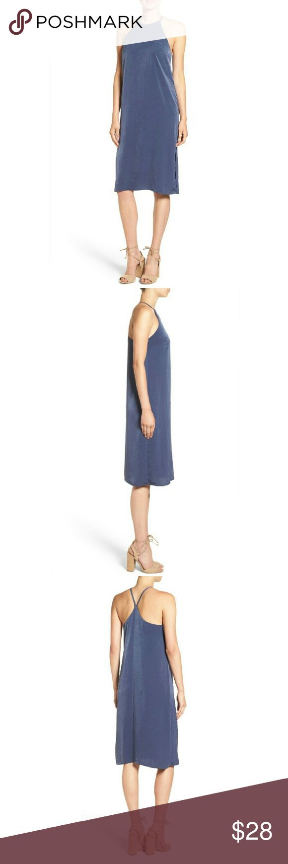"""Soprano High Neck Shift Dress This sleek, body-skimming shift dress in blue features a gorgeous suede like finish that brings out a silver sheen.  High neck and leg baring slit add a sexy vibe while the simple sleek design adds sophistication. Perfect for a cocktail party or a weekend getaway.  Partially lined. 100% Polyester.   Bust 17"""" lying flat (underarm to underarm) Waist approx 18"""" lying flat Legnth 43.5"""" Soprano Dresses Midi"""