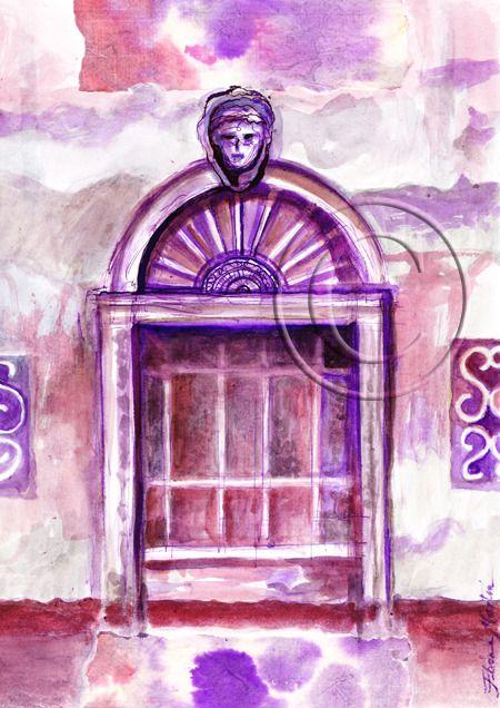 PORTE MAUVE BRUME VENITIENNE AQUARELLE ORIGINALE SUR PAPIER : Peintures par le-jour-se-leve