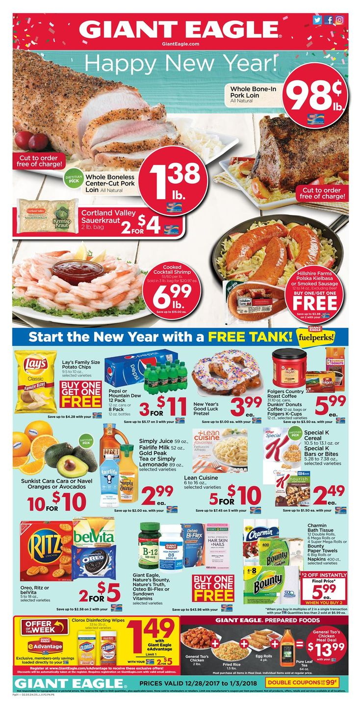 Giant Eagle Weekly Ad Dec 28, 2017-Jan 03, 2018  https://www.weeklyadspecials.com/giant-eagle-weekly-ad-dec-28-2017-jan-03-2018/