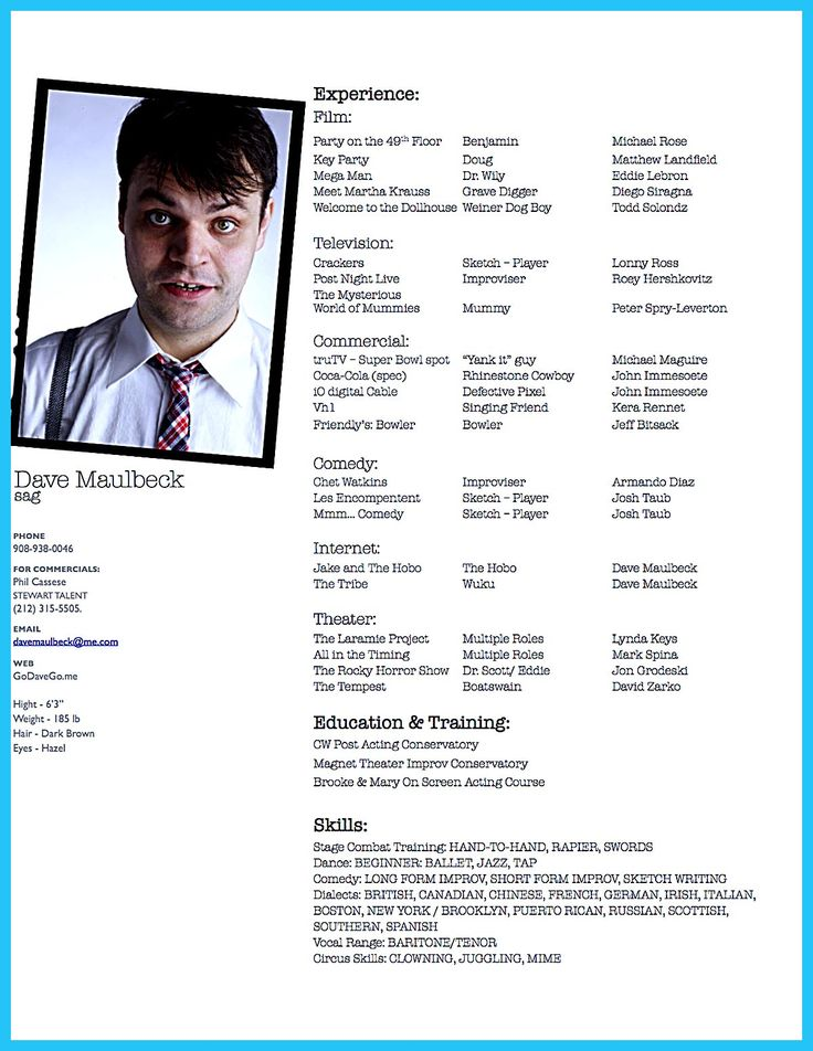 actor resume template gives you more options on how to write your actor resume rightly and - Theater Resume Sample