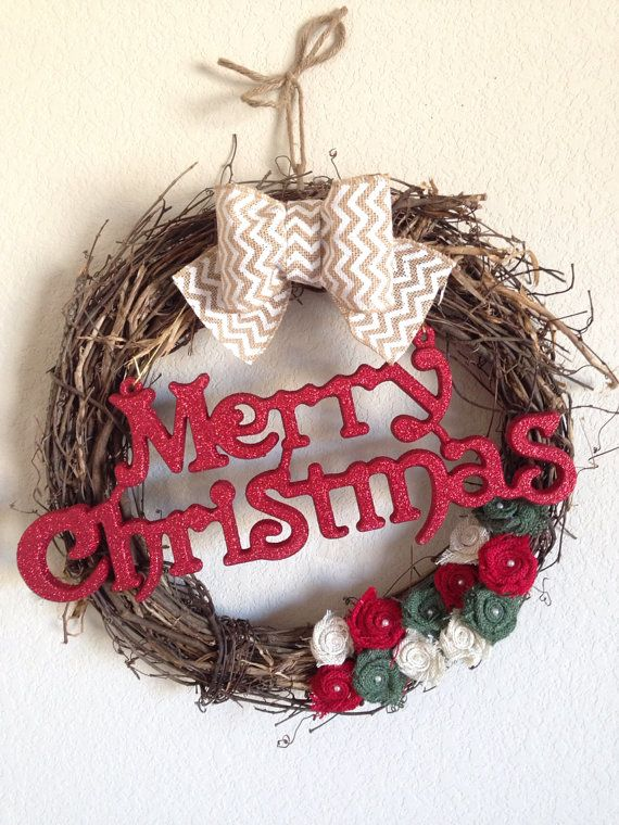 Chevron Burlap Merry Christmas Grapevine Wreath, Holiday Christmas Wreath, Chevron Christmas Wreath, Rustic Christmas Wreath,