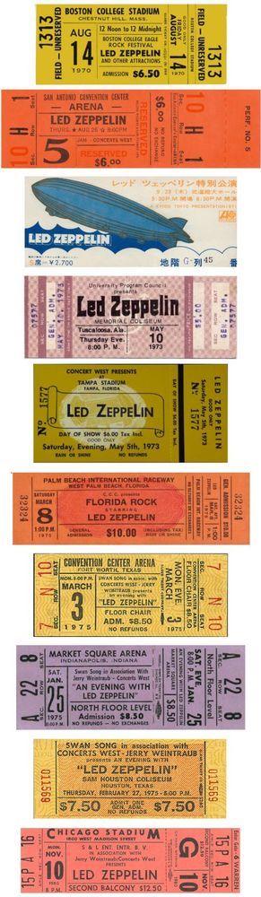 10 1970 - 80 LED ZEPPELIN VINTAGE UNUSED FULL CONCERT TICKETS LED ZEPPELIN