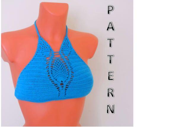 Crochet Halter Top Pattern Crochet Bikini Pattern by SIMDESIGNER