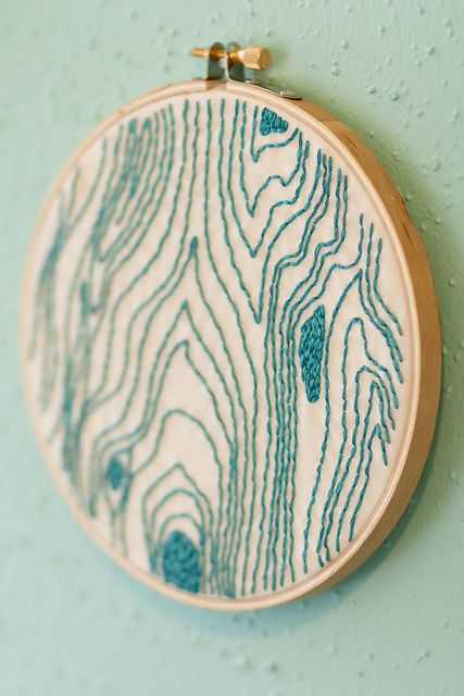 Woodgrain Hoop by Megan Van Sipe,  I always thought embroidery was so boring - but then you see patterns like this that make you fall in love with that old craft.