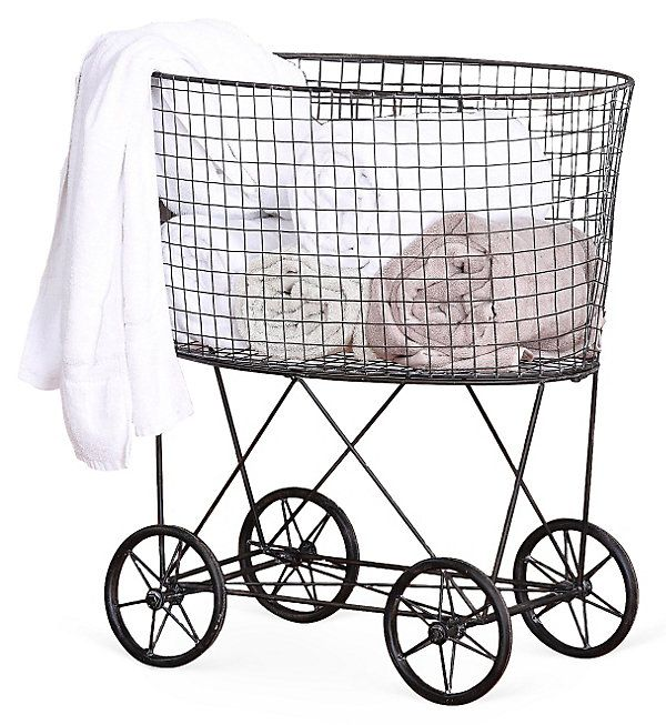 One Kings Lane - A Place for Everything - Wire Laundry Basket w/ Wheels