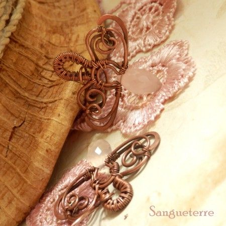 Margolar * rose quartz earrings * wirewrapping * wirewrapped * wired * jewelry * design * handmade * copper