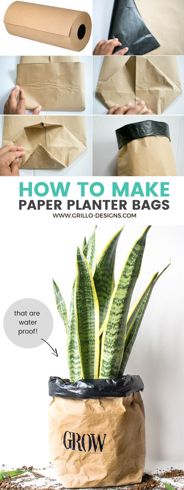 Use kraft paper to make waterproof planter bags for your plants www.grillo-designs.com