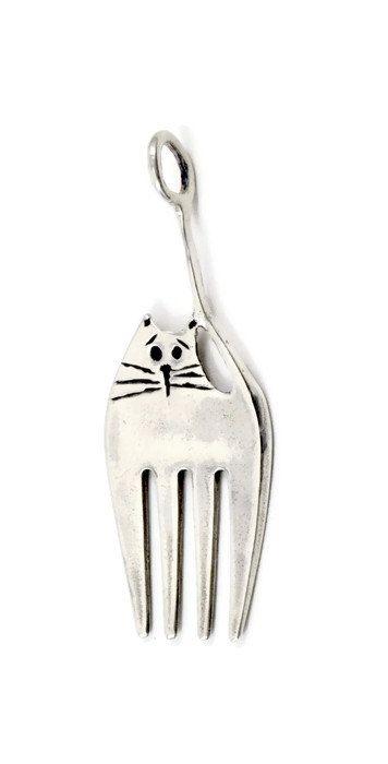 Sterling Silber Cat Schmuck Gabel Katze ungewöhnliche von robinwade