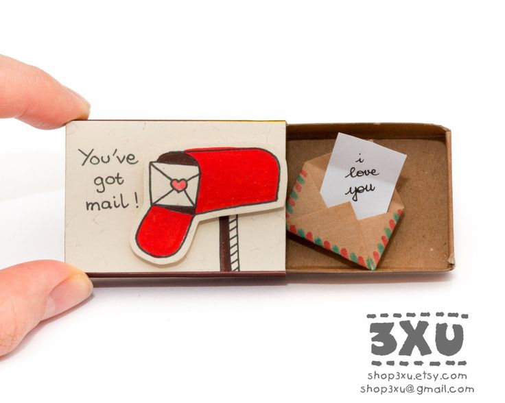 Cute Valentines card - Youve got mail - Detailed Handmade Gift  Please read reviews of our products on our old shop here: shop3xu.etsy.com  This listing is for one matchbox. This is a great alternative to a Valentine/Anniversary card. Surprise your loved ones with a cute private message hidden in these beautifully decorated matchboxes!  Each item is hand made from a real matchbox(*). The designs are hand drawn, printed on paper and then hand assembled to give each individual matchbox that…
