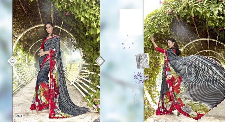 Ethnic Gray Saree,Georgette saree,grey saree with plain maroon blouse,printed saree,casual saree,buy saree online