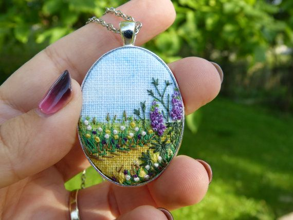 This pendant is hand embroidered and hand-painted. Ready for shipment.    Pendant size: 50x32mm / 1,97x1,26  Chain Length: 70 cm / 27,56 (default, I can change the length of the chain) Clasp: Lobster  Pendant comes in a gift bag. Surface of embroidery is protected from moisture and dirt by professional impregnate.    Every time I make embroidered jewerly, I fully engage myself. For every single embroidery i spent many hours and prepare several projects. My jewerly can be characterized trough…