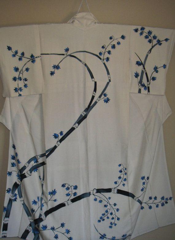 BAMBÙ tinto Vintage Kimono di seta giapponese - bella bambù tinto con fiori blu - mano cucita