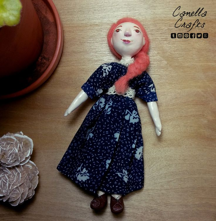 Orange haired Clay/soft bodied doll by CanellaCrafts on Etsy