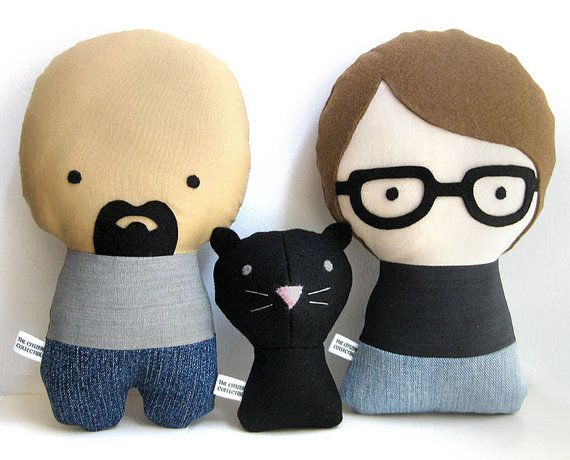 Couple with cat Personalized Dolls. by citizenscollectible on Etsy