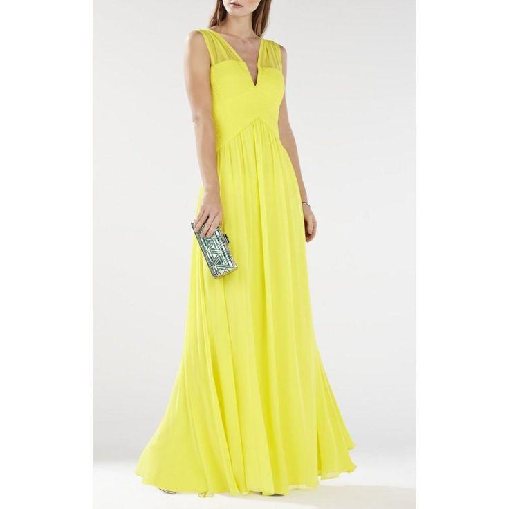 Bcbg Maxazria Astella Sleeveless Yellow Gown IQI62D03-8O5