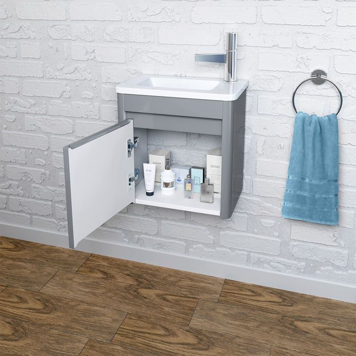 400mm Denver Grey Right Hand Cloakroom Vanity Unit Wall Hung Cloakroom Vanity Unit Cloakroom Basin Vanity Units Small Vanity Sink