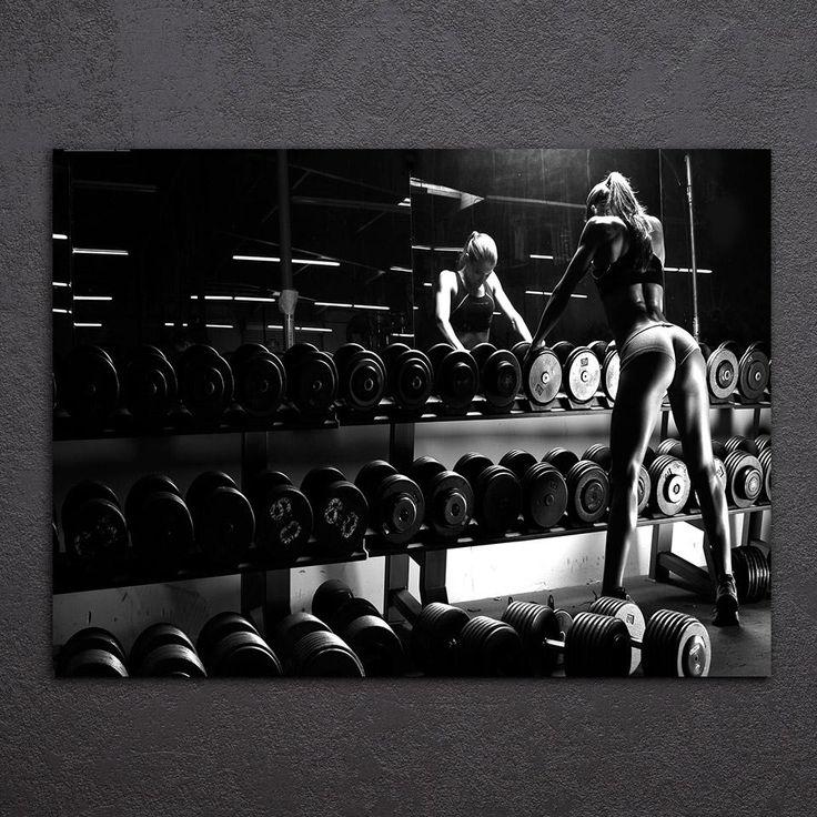 Canvas Art Inspirational Bodybuilding Equipment Fitness Printed Wall Art Home Decor