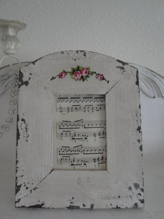 Shabby Chic Romantic Cottage Chippy White Wood Photo Frame w/Roses