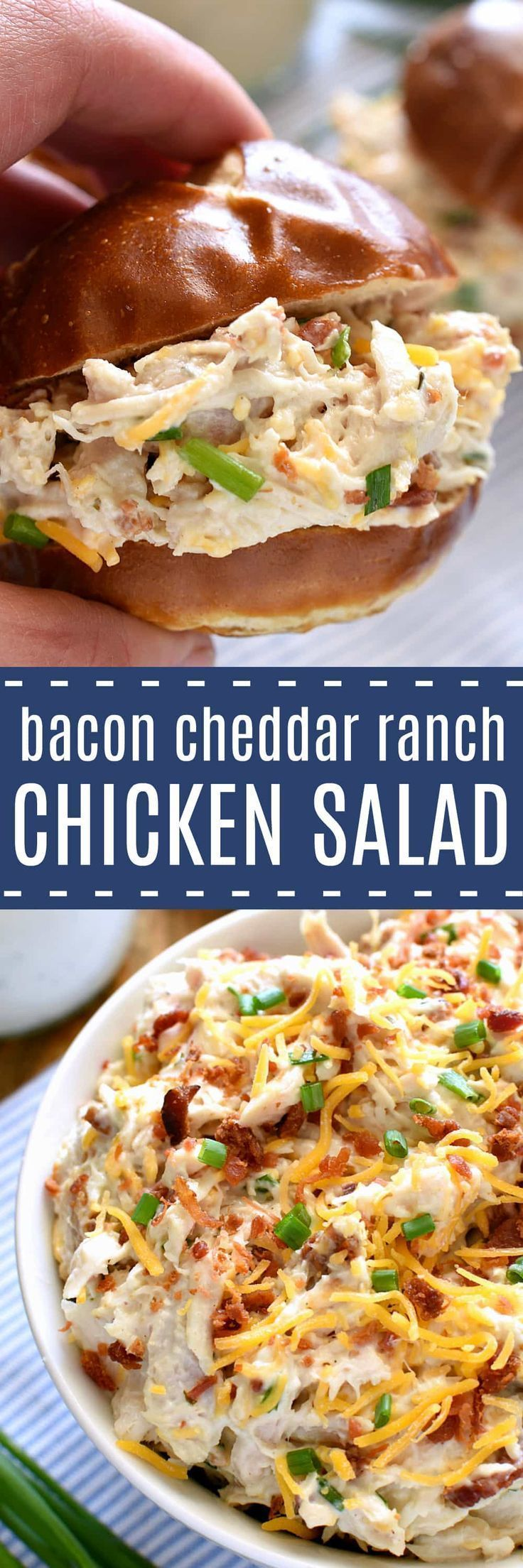 This Bacon Cheddar Ranch Chicken Salad is packed with all the BEST flavors! Chicken, bacon, cheddar, cheese, and ranch dressing come together in the most delicious way in this chicken salad that's guaranteed to become a favorite!