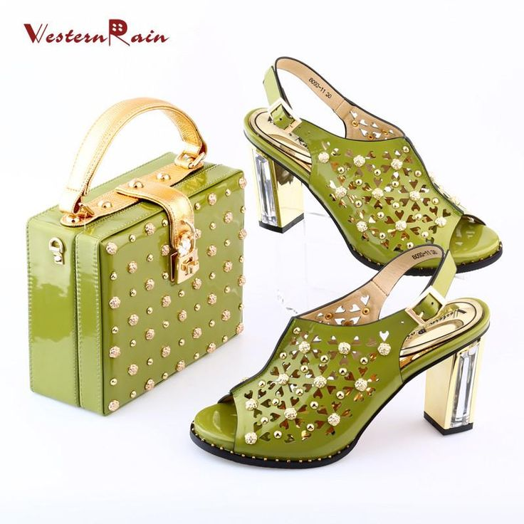 Green Rivet Shoes with Bag Set to Match Women Open Toe Sandals for Party 8093-11-GR