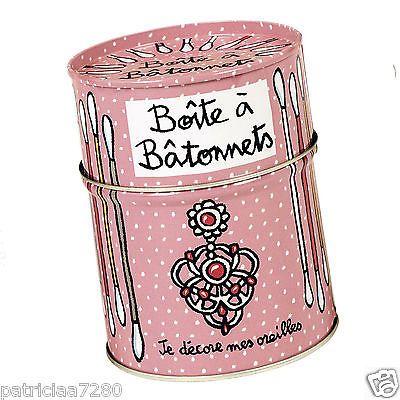 """BOITE POT A BATONNETS COTON TIGES """"MES OREILLES ROSE PETIT DLP DERRIERE LA PORTE"""