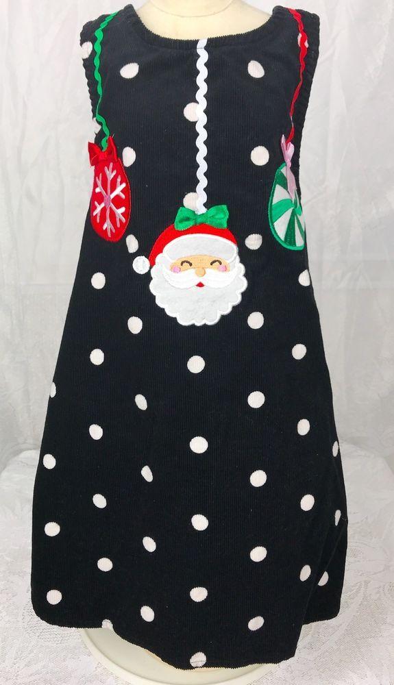 08951c98f2d4 Holiday Editions Girl 5T Christmas Dress W/Santa Claus Polka Dots Cute |  eBay