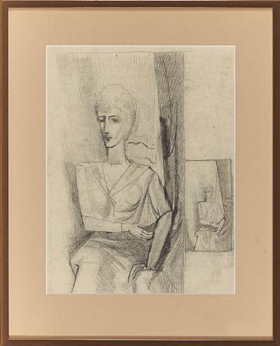 "PER KROHG AASGAARDSTRAND 1889 - OSLO 1965  Jacqueline, ca 1929 Blyant på papir, 33x25 cm (L) Usignert Påført bak på rammens bakplate: ""Denne tegning av Per Krohg etter modellen Jacqueline er fra omkring 1929, Guy Krohg"""