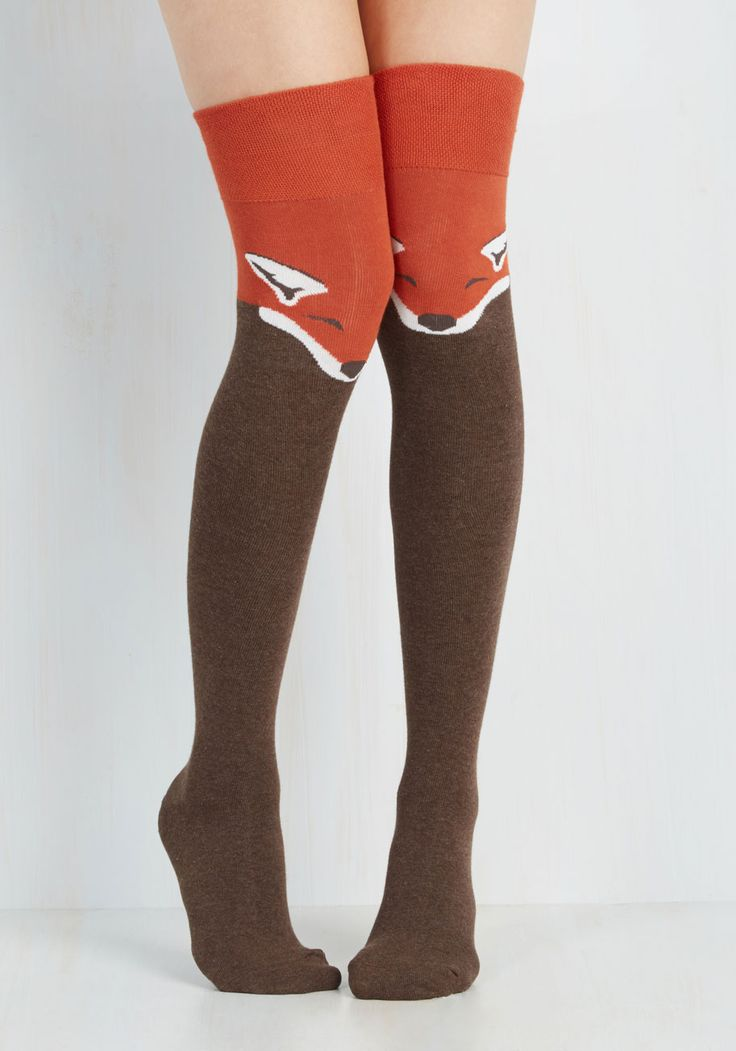 Fur the Win Thigh Highs in Fox - Orange, Brown, Print with Animals, Casual, Statement, Quirky, Nifty Nerd, Critters, Fall, Winter