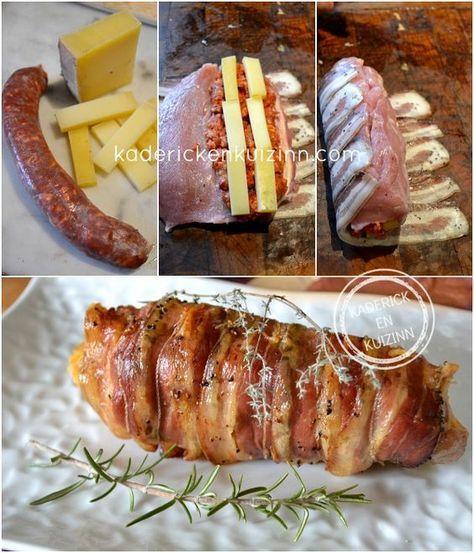 Préparation Filet porc - Filet mignon porc farci chorizo fromage chez Kaderick en Kuizinn
