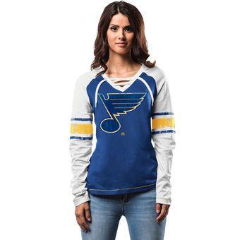 St. Louis Blues Women's Royal Shorthanded Fashion Long Sleeve T-Shirt