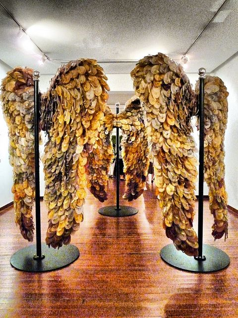 In art there is beauty . . . Angel wings made from flip flops* worn by prisoners of war from Changi Prison WW2. Almost half the prisoners there did not survive. (* In Australia we call them thongs, I'm adding this because most of these dead prisoners would have been Australians).