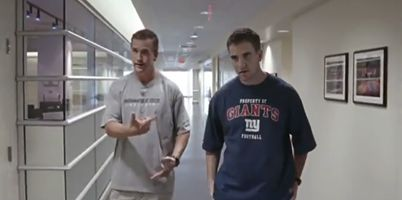 "Peyton and Eli Manning in the ESPN ""Sports Center"" commercial not long ago! One of the Best commercial s ESPN has done! Very funny!"