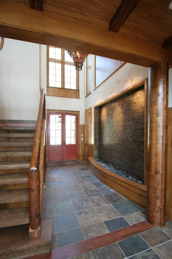 indoor water feature wall fountain, rustic wood stairs