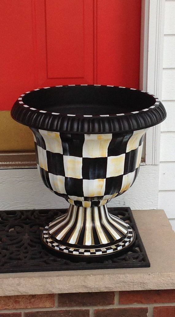 Urn Planter   Hand Painted   Black And White Checked   Plastic Resin